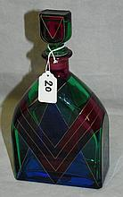 Italian Bicchielli glas multi colored decanter signed