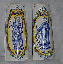 Pair italian hand painted tiles signed La Piccola