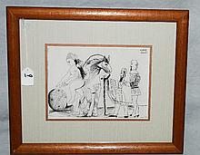 Picasso framed book plate. Overall size H:14. 25