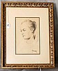 Framed drawing of a lady , signed