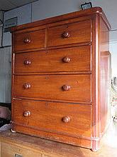 VICTORIAN MAHOGANY TWO OVER THREE CHEST OF DRAWERS