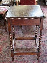 OAK BARLEY TWIST OCCASIONAL TABLE WITH PIE CRUST E