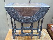 SMALL CARVED OAK GATE LEG TABLE