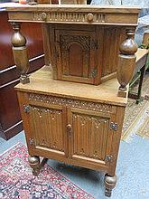 PRIORY STYLE OAK COURT CUPBOARD
