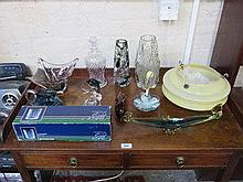 PARCEL OF COLOURED AND OTHER GLASSWARE, LIGHT FITT