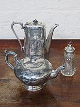 SILVER PLATED TEAPOT, SILVER PLATED COFFEE POT AND
