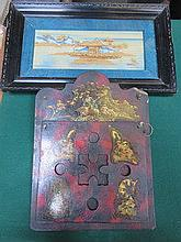 PAIR OF ORIENTAL STYLE FRAMED CORK PICTURES AND CH