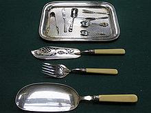 PLATED TRAY AND FISH SERVING ITEMS, SILVER SPOON,