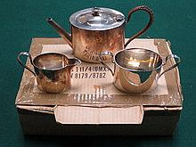 THREE PIECE SILVER PLATED TEA SET AND BOXED STAINL