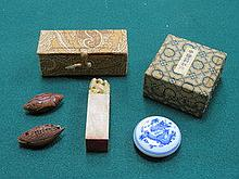 ORIENTAL SOAPSTONE SEAL STAMP, SMALL BLUE AND WHIT