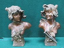 PAIR OF ART NOUVEAU STYLE SPELTER BUSTS- CLEOPATRA