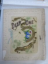 ALBUM OF EMBROIDERED SILK GREETING CARDS, OTHER GR