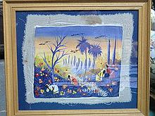 BURTON CHENET, FRAMED PAINTING ON SILK DEPICTING A
