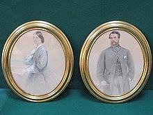 PAIR OF VICTORIAN STYLE UNSIGNED OVAL FRAMED PORTR