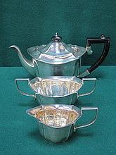 HALLMARKED SILVER THREE PIECE TEA SET, BIRMINGHAM