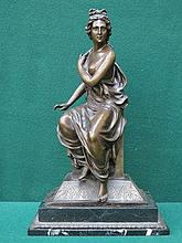 VICTORIAN STYLE BRONZE SEATED FIGURINE ON MARBLE E