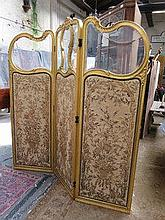 VICTORIAN GILDED AND GLAZED EMBROIDERED THREE FOLD