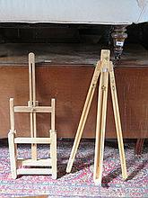 TWO WOODEN ARTIST'S EASELS