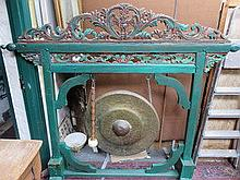 LARGE ORIENTAL STYLE PAINTED WOODEN GONG WITH BEAT