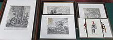 SIX VARIOUS CONTINENTAL STYLE MONOCHROME ETCHINGS,