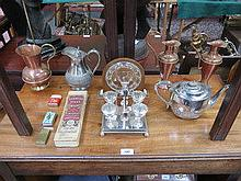 SUNDRY LOT INCLUDING PARCEL OF SILVER PLATEDWARE,