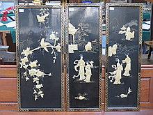 SET OF THREE ORIENTAL STYLE MOTHER OF PEARL AND GI