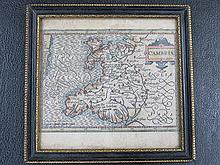 SMALL FRAMED MAP OF CAMBRIA, APPROXIMATELY 12.5cm