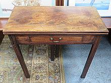 ANTIQUE MAHOGANY FOLD OVER TEA TABLE FITTED WITH S