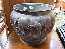 RELIEF DECORATED CHINESE BRONZE STYLE COAL BUCKET