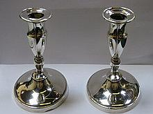 PAIR OF HALLMARKED SILVER CANDLE STANDS, SHEFFIELD