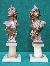 PAIR OF FRENCH STYLE ART NOUVEAU PAINTED SPELTER B
