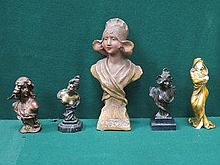 FOUR VARIOUS ART NOUVEAU STYLE BUSTS AND GILDED FI