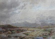 W BRADLEY, FRAMED WATERCOLOUR DEPICTING A COUNTRY