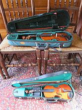 TWO MODERN CASED VIOLINS WITH BOWS