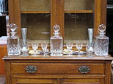 THREE GLASS DECANTERS, VARIOUS OTHER GLASSWARE, FL
