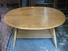ERCOL LIGHT OAK OVAL COFFEE TABLE