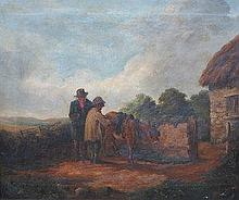 GILT FRAMED OIL ON CANVAS DEPICTING A COUNTRY COTT