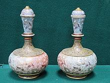 PAIR OF DOULTON LAMBETHS AND SLATERS FLORAL DECORA