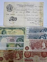 PARCEL OF BRITISH BANK NOTES INCLUDING 1945 FIVE P