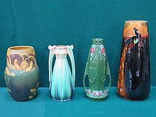 FOUR VARIOUS ART NOUVEAU STYLE CERAMIC VASES