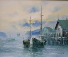 L. THOMAS FRAMED OIL ON BOARD DEPICTING A HARBOUR SCENE APPROX 49 X 60 CM