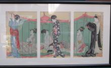 FRAMED SET OF THREE PICTURES DEPICTING JAPANESE LADIES