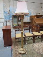 DECORATIVE VICTORIAN STYLE GILDED STANDARD LAMP ON CLAW SUPPORTS