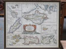 FRAMED ROBERT MORDEN MAP OF THE SMALLER ISLANDS IN THE BRITISH OCEAN 39.5cm x 45cm