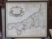 FRAMED ROBERT MORDEN MAP OF CORNWALL 38cm x 45cm