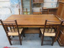 OAK REFECTORY STYLE DINING TABLE AND FOUR RUSH SEATED DINING CHAIRS