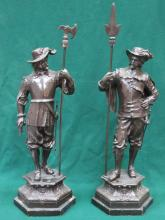 PAIR OF LARGE SPELTER FRENCH STYLE FIGURES