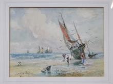 J HUGHES CLAYTON, FRAMED WATERCOLOUR DEPICTING MOORED SHIPPING BOATS, APPROXIMATELY 26cm x 34cm