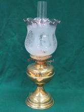 DECORATIVE VINTAGE BRASS OIL LAMP WITH SHADE
