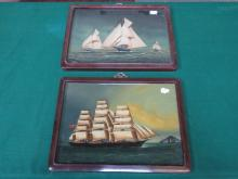 PAIR OF PAINTINGS ON GLASS IN ORIENTAL STYLE FRAMES DEPICTING GALLEONS